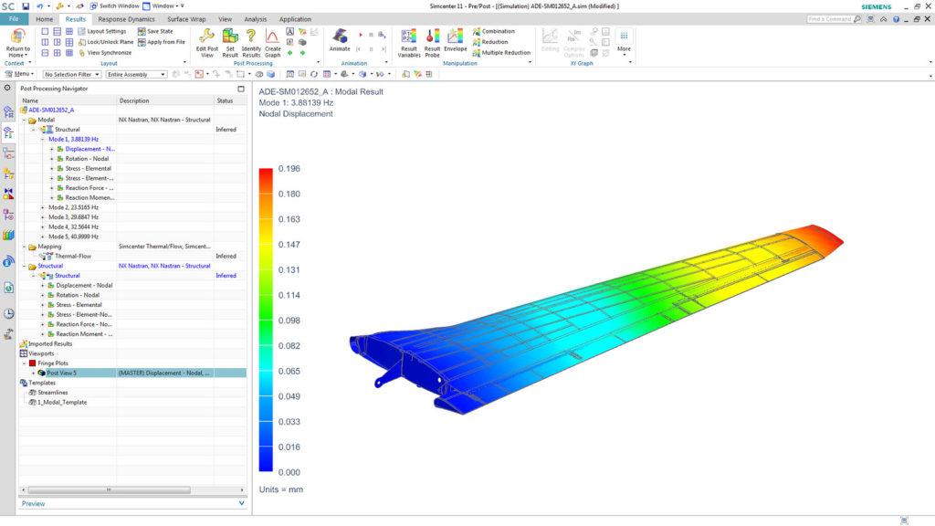 Screenshot Simulation 3D of airplane wing