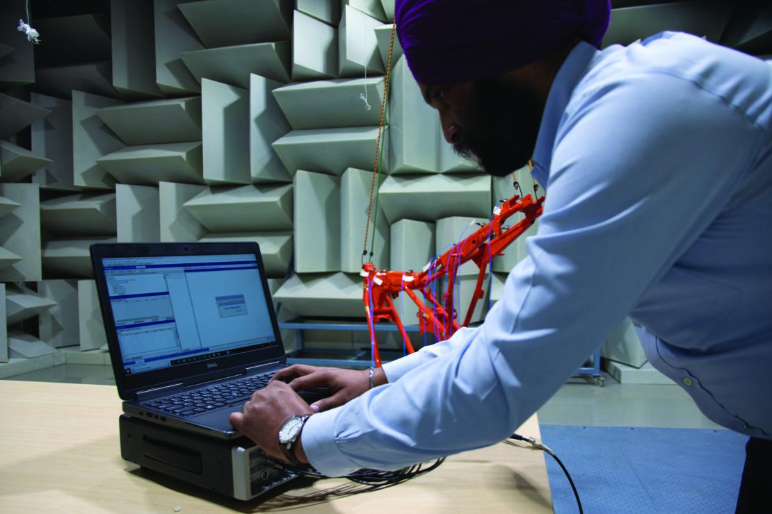 Engineer analyzing test data