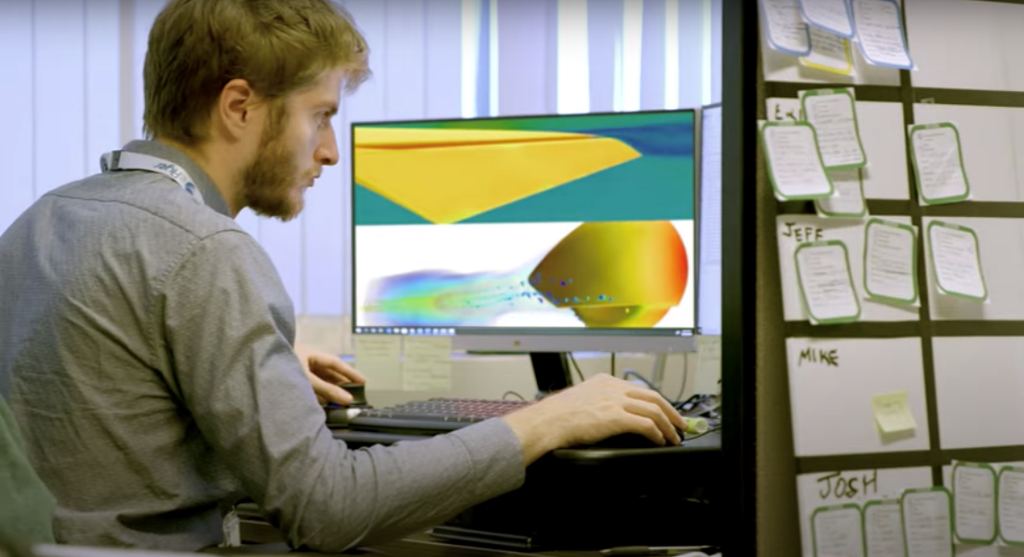 Simulation engineer evaluating a computational fluid dynamics