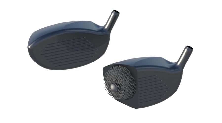 Cutaway of custom 3D printed golf club head