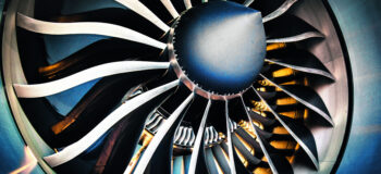Close up of airplane turbofan engine