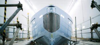Sports Yacht in development. Photo credit: Princess Yachts.