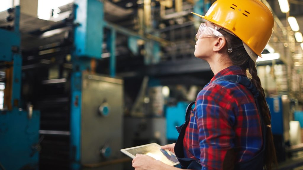 Woman working in factory setting