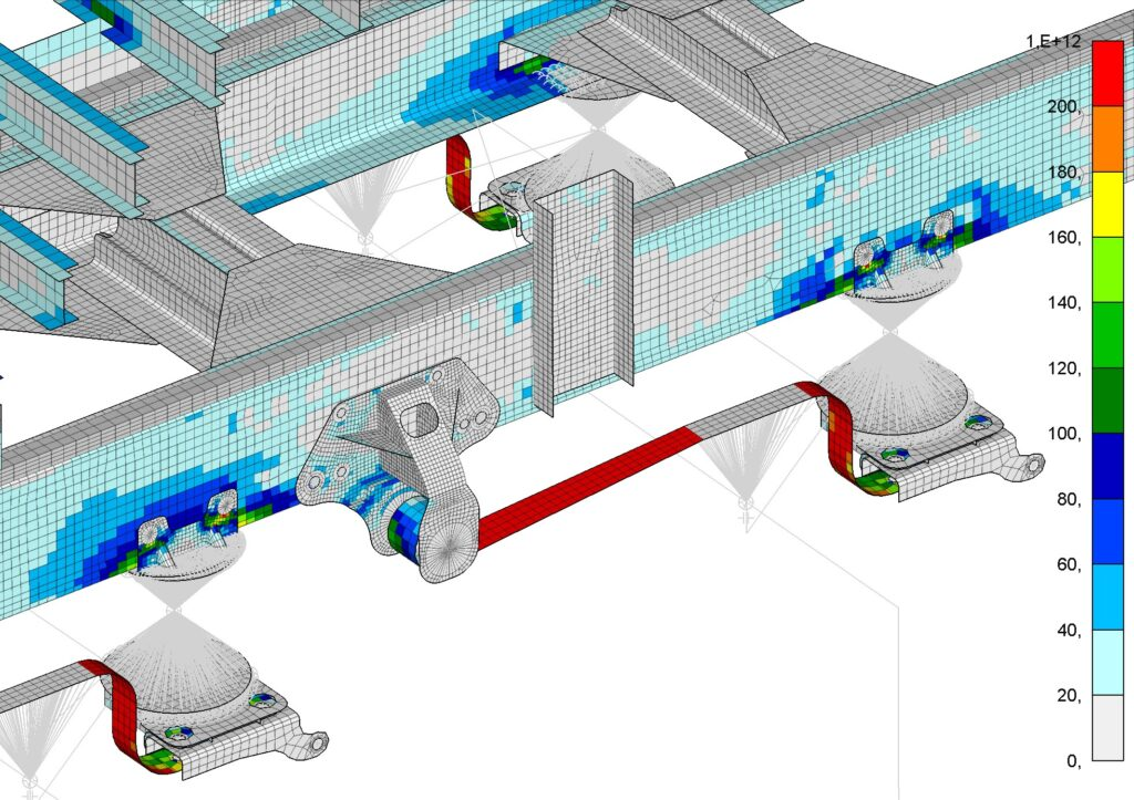 Finite Element results of a truck's rear suspension attachment
