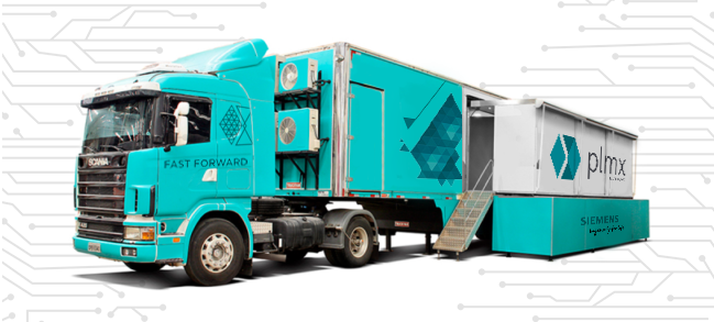 big rig truck and container with PLMX logo