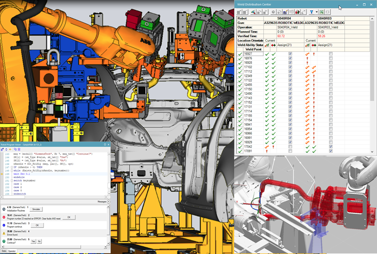 screenshot showing advanced features and OLP capabilities of Process Simulate