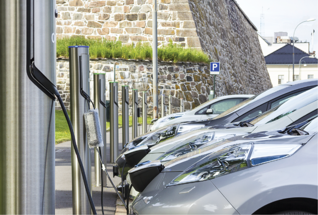 Electric vehicles on charging stations