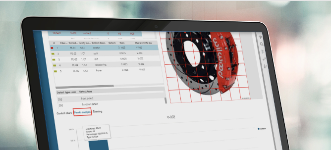 laptop screen showing Opcenter Quality Management software