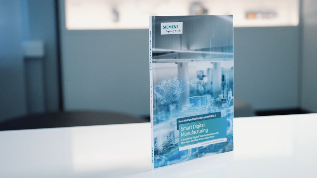 Photo of the new Smart Digital Manufacturing book from Siemens