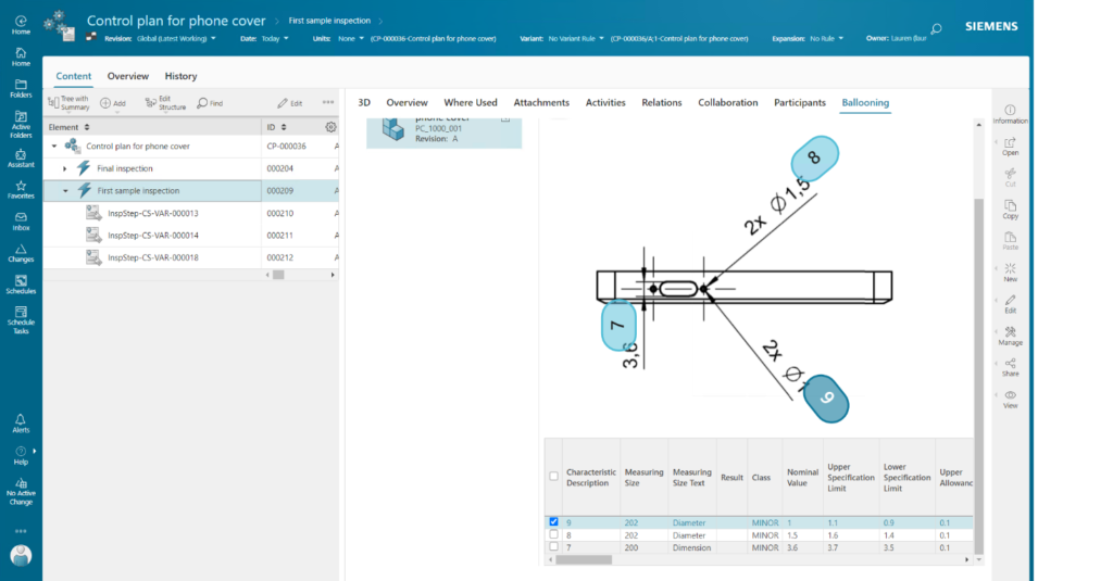 Quality Control Plan screenshot showing 2D ballooning from a CAD drawing over PMI