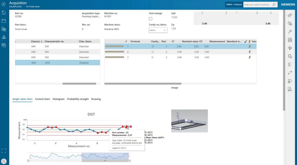 Screen shot showing control charts to aid aquality engineer in identifying problems.