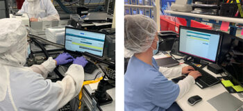 Two images of Terumo workers using Siemen's Opcenter to manage manufacturing and eDHR processes.