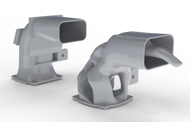 Two versions of the same additive manufaccturing part, one optimized.