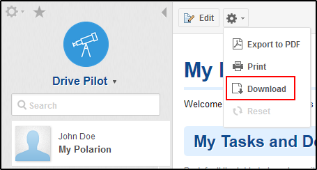 Download My Polarion personal dashboard as a page archive