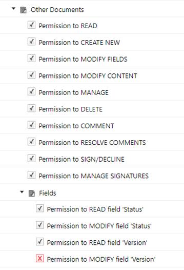 Per-field permissions configuration