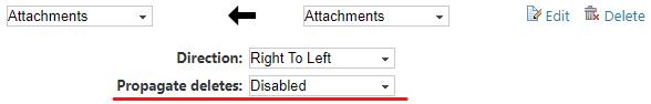 Configuring delete propagation during attachments sync