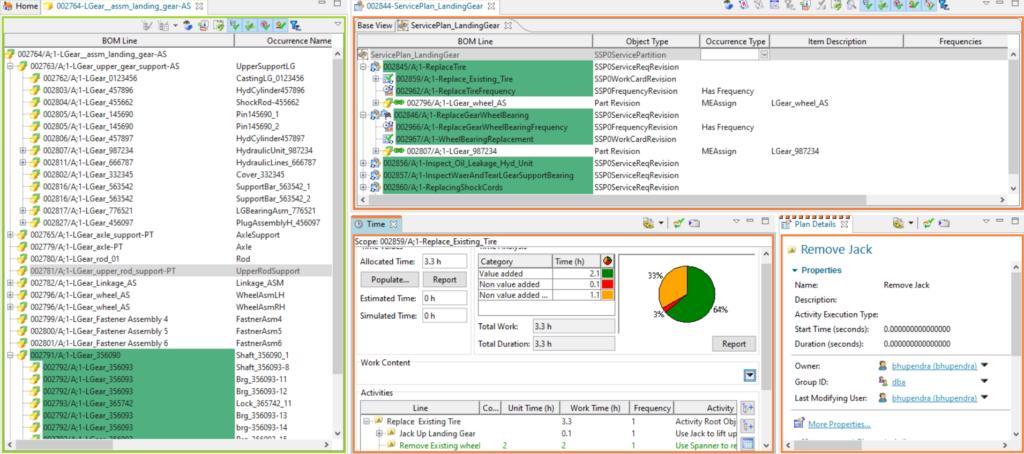 Details of sBom & Service Plan defined in Teamcenter SLM