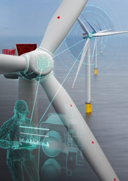 windmilll with person servicing it to represent physical asset configuration