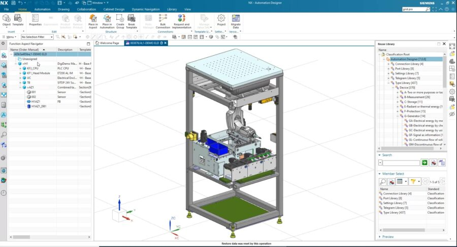 Screen shot showing the functional, modular design of automation systems with Automation Designer
