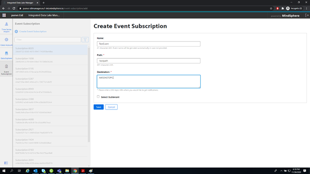 Create, modify, list and delete Event Subscriptions in Integrated Data Lake