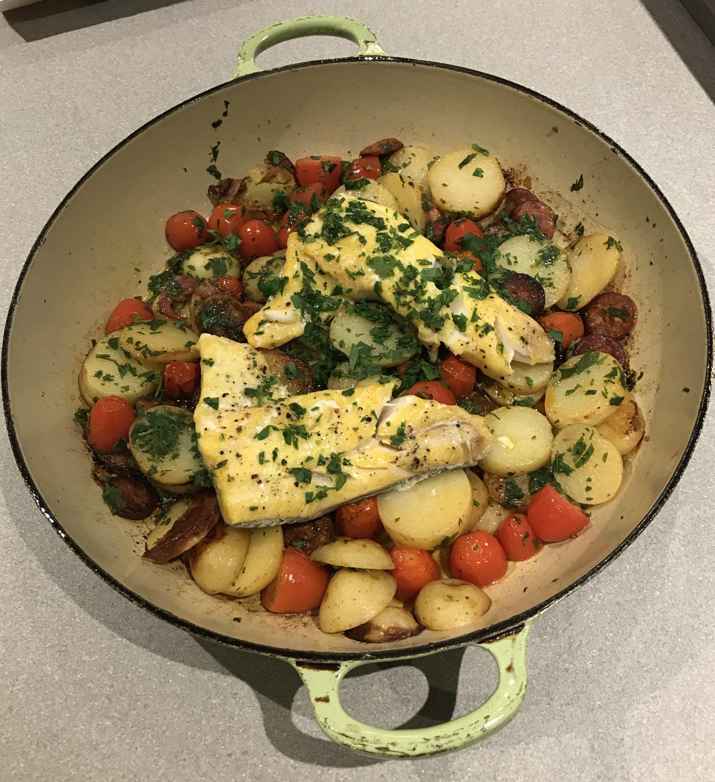 Chorizo, new potato & haddock one-pot