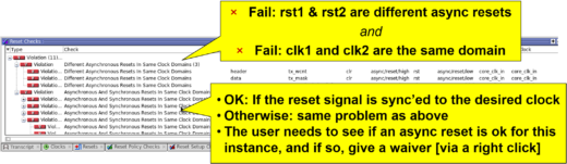 Questa Reset Check results example