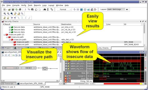 """Secure Check GUI example: users click on the """"Insecure Path"""" of concern and the app generates a schematic of the path and related waveforms of the signals involved"""