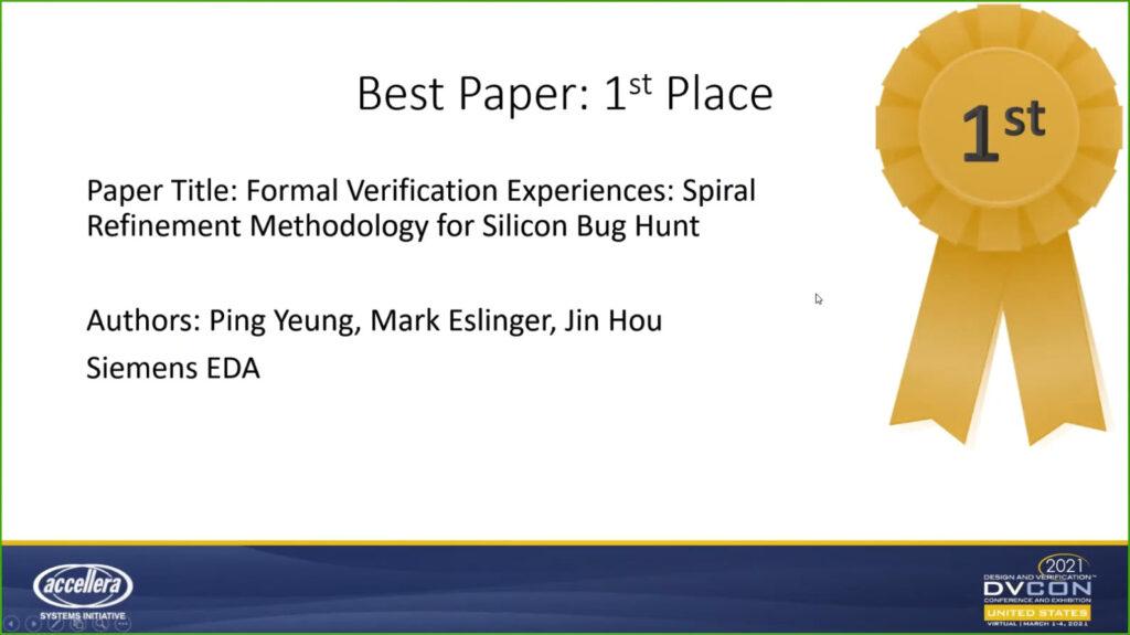 DVCon USA 2021 Best Paper award