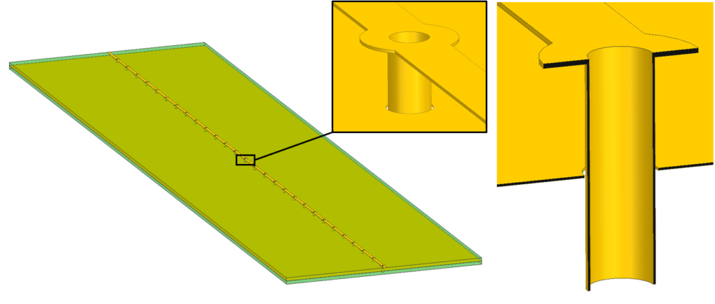 Trace, plane and thermal vias geometry