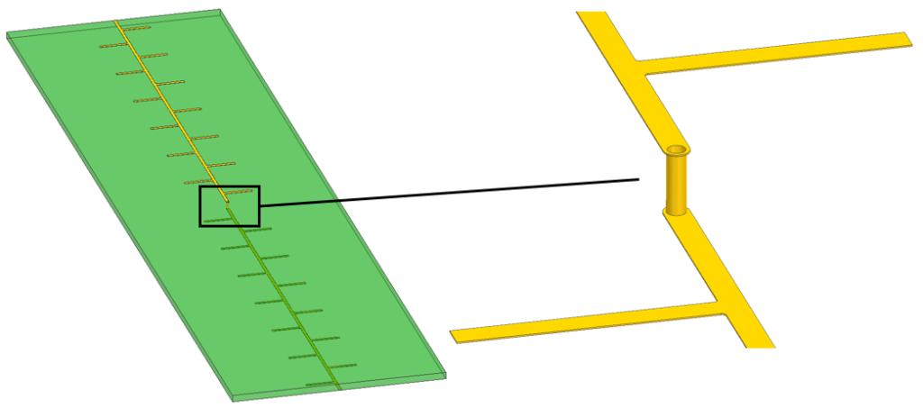Trace, via and heatsink comb geometry
