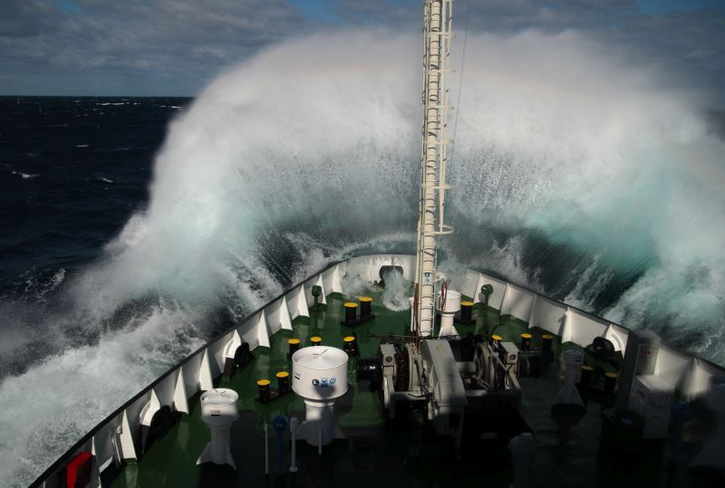 a ship structure interacting with waves