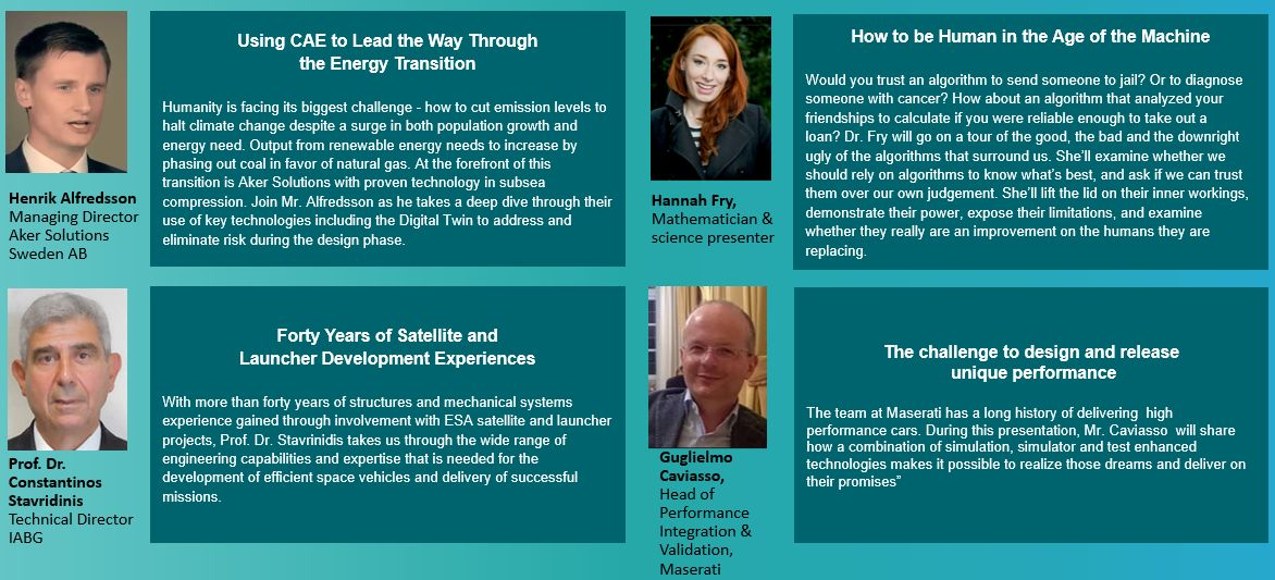 Keynote speakers at the Simcenter Conference