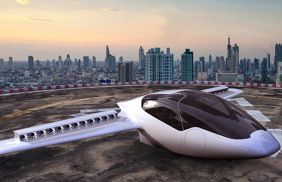 Lilium's air taxi concept landed on a roof-top heliport