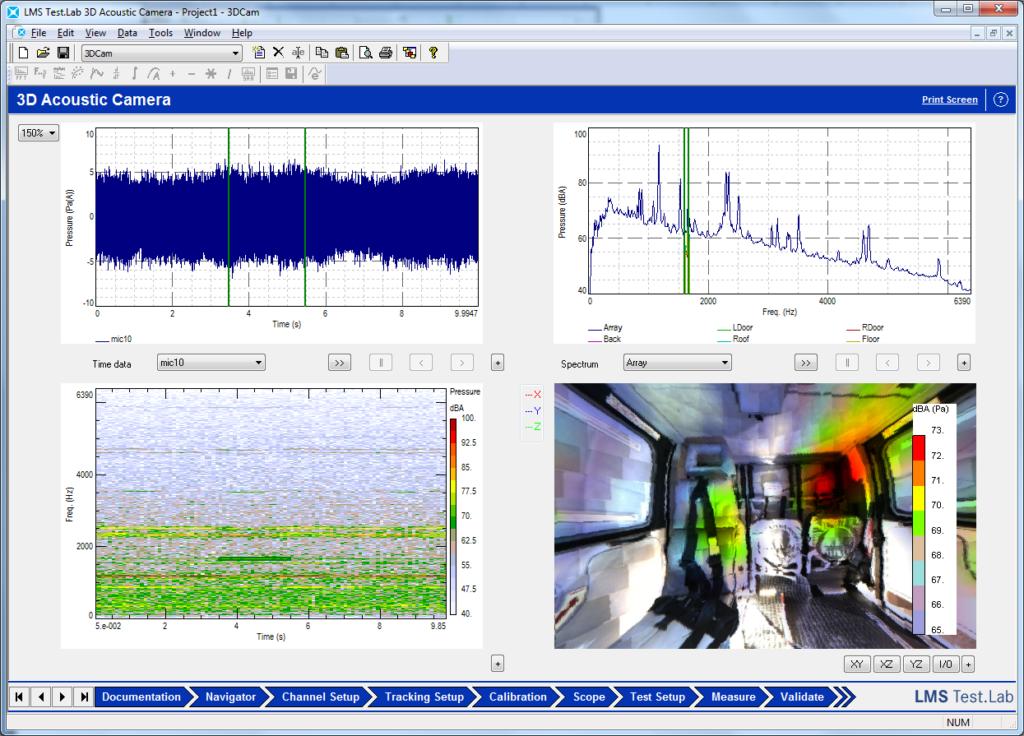 Simcenter Testlab 3D Acoustic Camera: 3D result view