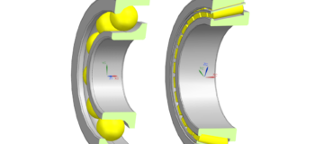 Avoid Bearing failure with Virtual Prototyping. Angular Contact Ball Bearing (ACBB, left), Tapered Roll Bearing (TRB, right), as modeled in Simcenter 3D