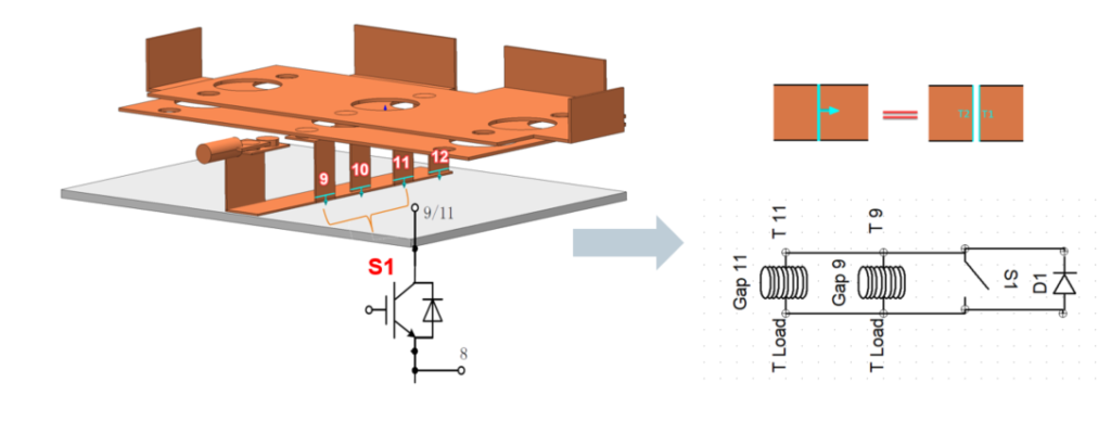 Bus bar containing diodes and switches between multi terminal coils surfaces