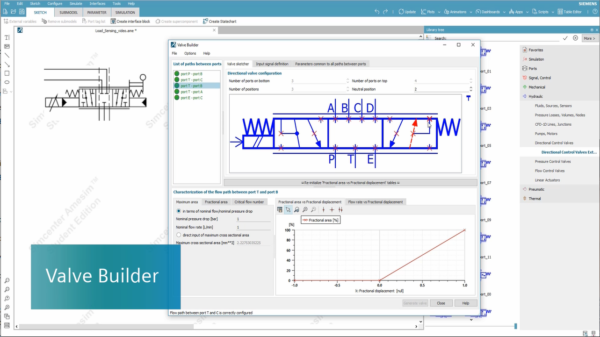 New Valve Builder capability available in Simcenter Amesim Student Edition