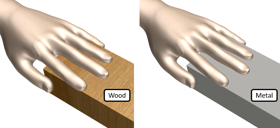 Hand touching Wood and Metal - Simcenter FLOEFD model