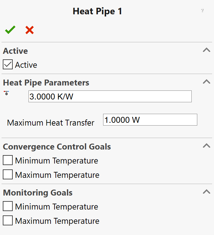 Heat Pipe property page