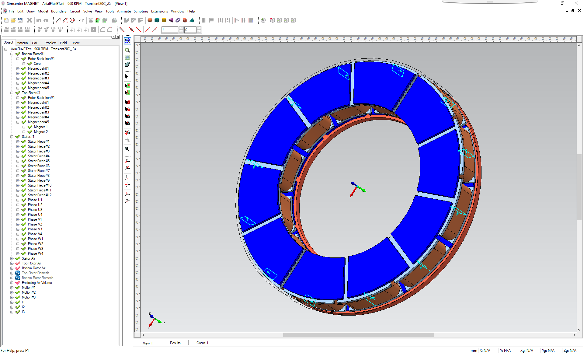 Simcenter MAGNET model view of an axial flux motor