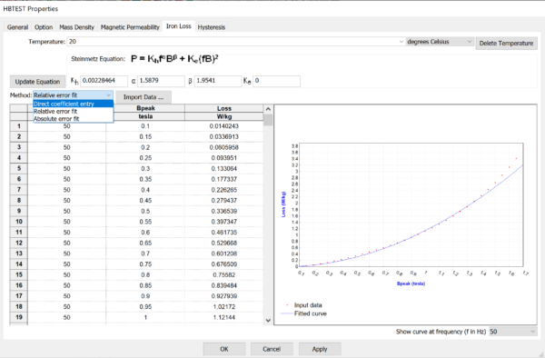 Specifying the Steinmetz equations coefficients for iron loss calculation in Simcenter MAGNET