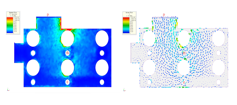 electromagnetic analysis of busbars - current density plot in the bottom layer of the bus bar