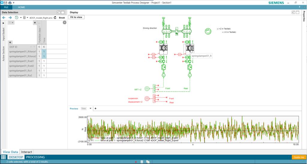 Amesim sketch viewer showing suspension system of SimRod in Simcenter Testlab