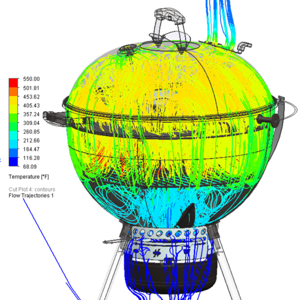 Flow Trajectories colored by temperature showing how air moves through the grill.