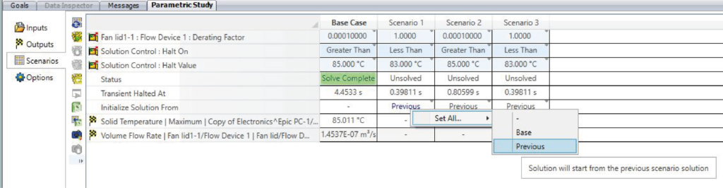 Parametric scenario table with simple thermostatic control - Simcenter Flotherm XT