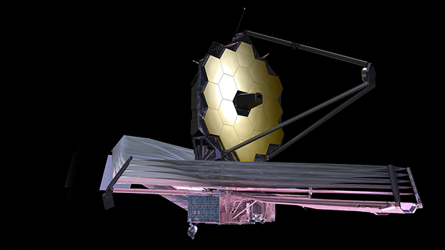 An artist's impression of the deployed JWST in orbit