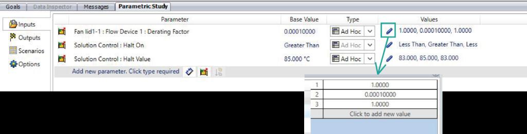 Parametric input table - Simcenter Flotherm XT