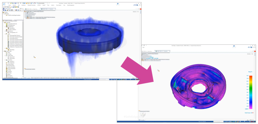 Simcenter FLOEFD results mapped onto a Solid Edge Simulation analysis.