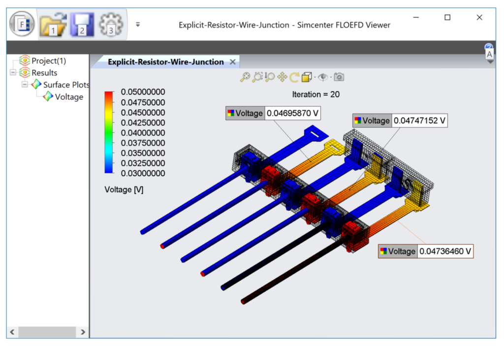 Displaying dynamic probes in Simcenter FLOEFD Viewer.