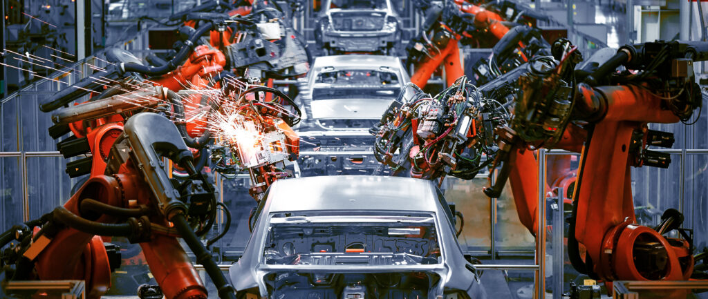 Robots are increasingly being used in production lines to increase efficiency and eliminate human error.